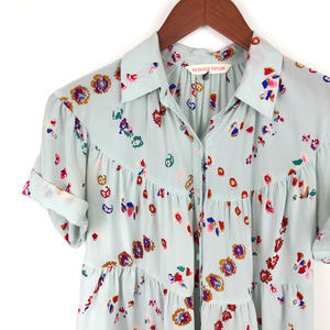 Rebecca Taylor Silk Floral Short Sleeve Button Up
